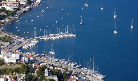 aerial view of the port of skiathos web
